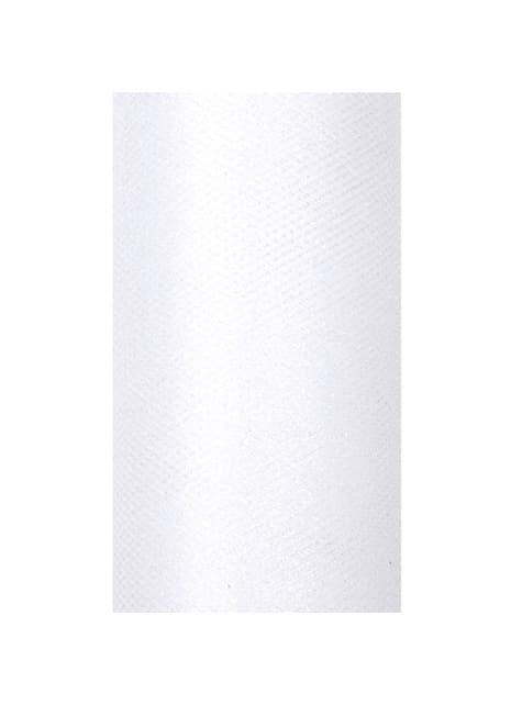 Rolo de tule branco brilhante de 15cm x 9m