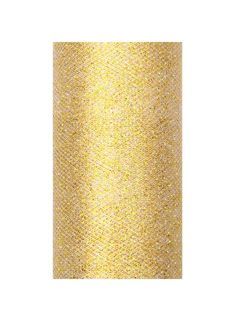 Rollo de tul dorado brillante de 15cm x 9m