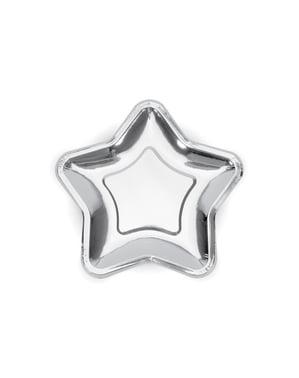Set 6 stříbrných papírových talířů ve tvaru hvězdy - New Year's Eve & Carnival