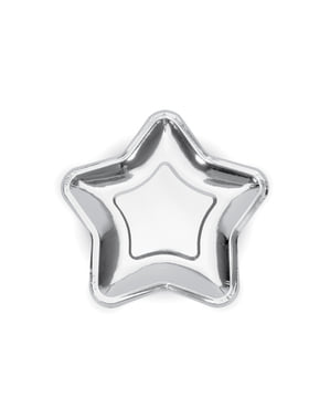 6 papperstallrikar silverfärgade i form av stjärna (18 cm) - New Year's Eve & Carnival