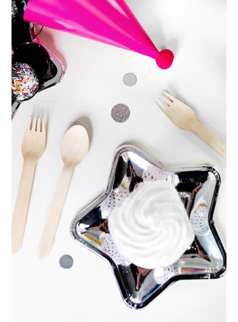 6 platos plateados con forma de estrella de papel (18 cm) - New Year's Eve & Carnival - para tus fiestas