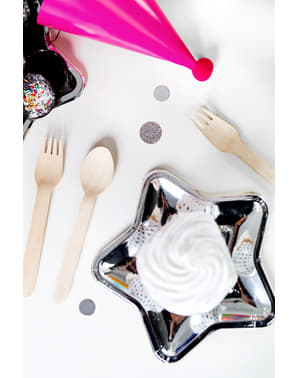 6 assiettes argentées en forme d'étoile en carton - New Year's Eve & Carnival