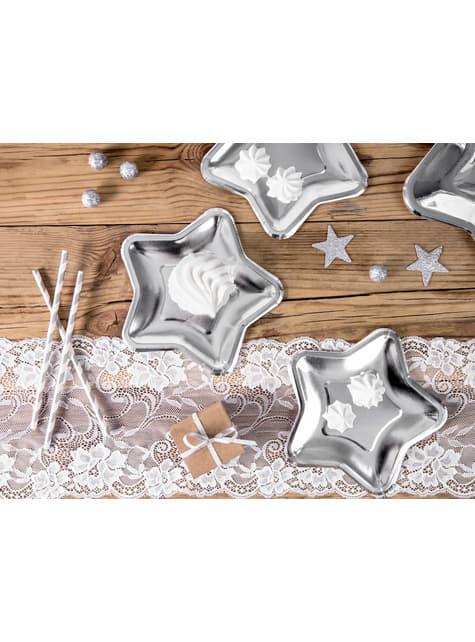 6 platos plateados con forma de estrella de papel (18 cm) - New Year's Eve & Carnival - barato