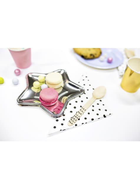 6 platos plateados con forma de estrella de papel (18 cm) - New Year's Eve & Carnival - original