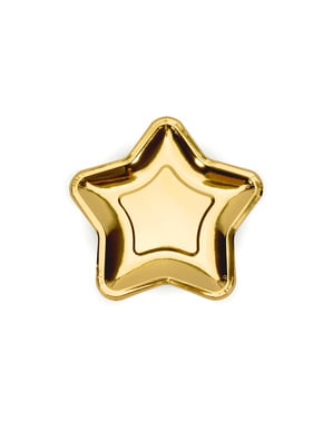 6 Star-Shaped Gold Paper Plate (18 cm) - New Year's Eve & Carnival