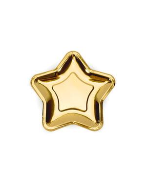 6 stervormige gouden papieren borde (18 cm) - Nieuwjaar & Carnaval