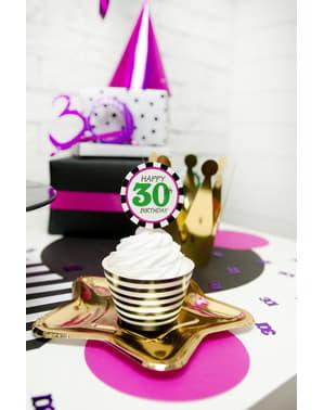 Комплект от 6 звездообразни златни хартиени чинии - Нова година и карнавал