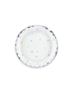 6 pratos brancas com estrelas de papel multicolorida (18cm) - Unicorn