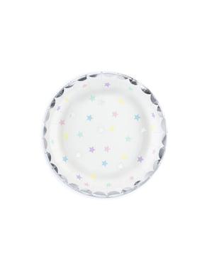 Комплект от 6 чинии от бяла хартия с многоцветни звезди - еднорог