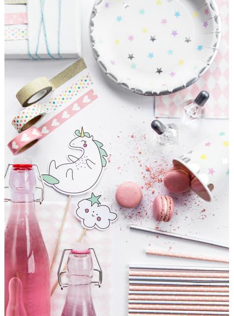6 platos con estrellas de colores (23cm) - Unicorn Collection - barato