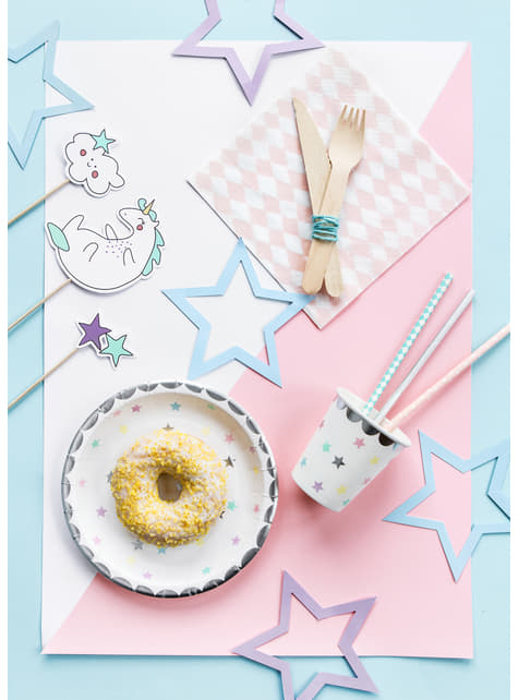 6 platos con estrellas de colores (23cm) - Unicorn Collection - para niños y adultos