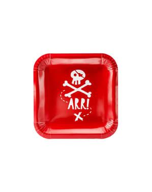 6 pratos quadradas vermelhas