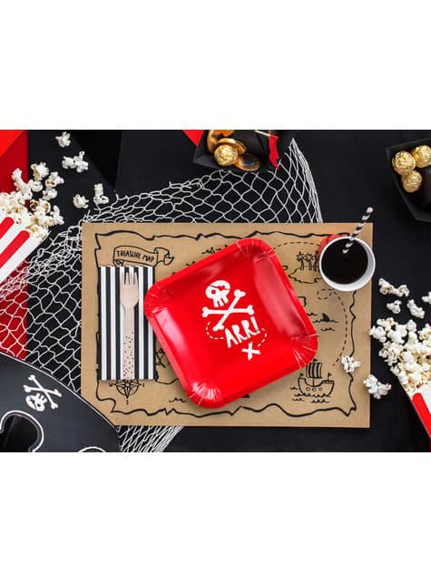 Pappteller Set 6-teilig viereckig rot