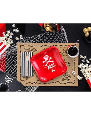 Zestaw 6 czerwone kwadratowe papierowe talerze