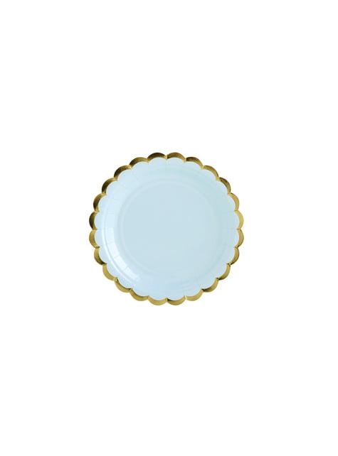6 platos azules pastel de papel (18 cm) - Yummy
