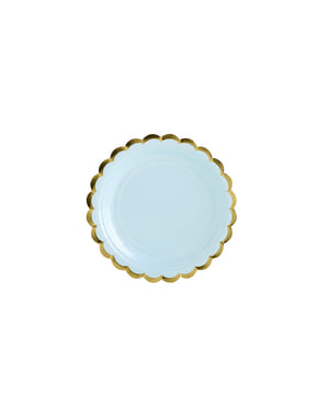 6 pastel blauwe papieren borde (18 cm) - Yummy