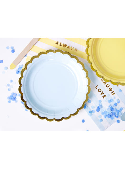 6 platos azules pastel de papel (18 cm) - Yummy - para tus fiestas