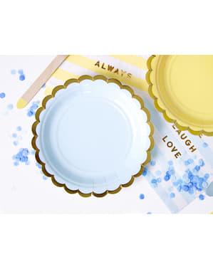 Zestaw 6 pastelowo niebieskie papierowe talerze - Yummy