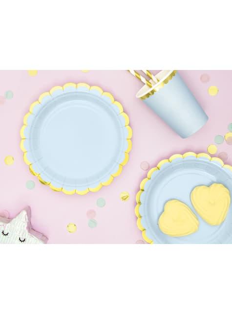 6 platos azules pastel de papel (18 cm) - Yummy - comprar