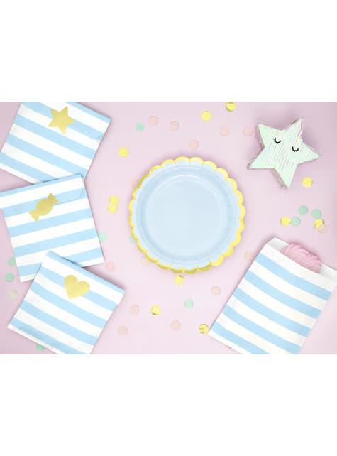 6 platos azules pastel de papel (18 cm) - Yummy - para niños y adultos