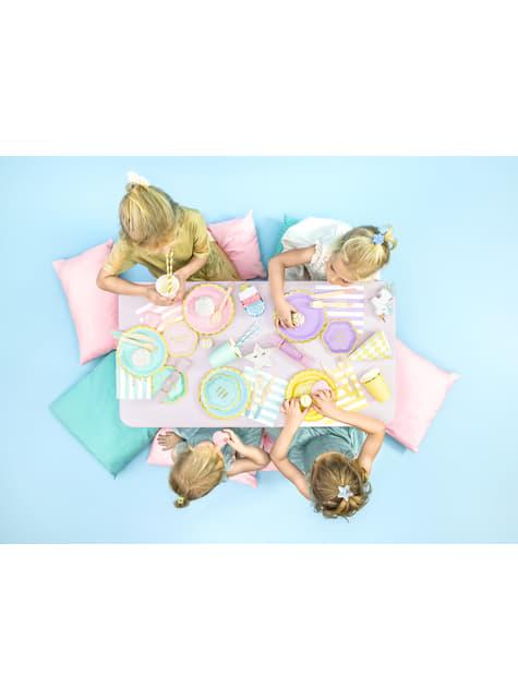 6 platos azules pastel de papel (18 cm) - Yummy - para decorar todo durante tu fiesta