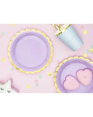 Zestaw 6 pastelowo fioletowe papierowe talerze - Yummy