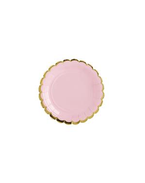 Zestaw 6 pastelowo różowe papierowe talerze - Yummy