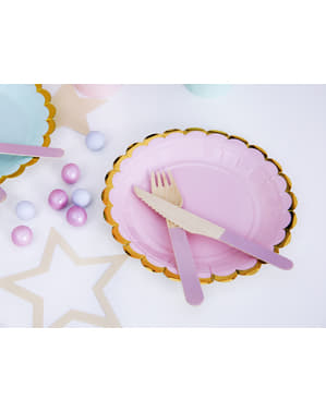 6 platos rosa pastel de papel (18 cm) - Yummy