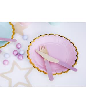 6 pastel roze papieren borde (18 cm) - Yummy