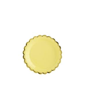 6 platos amarillo pastel de papel (18 cm) - Yummy