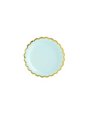 6 platos verde menta de papel (18 cm) - Yummy