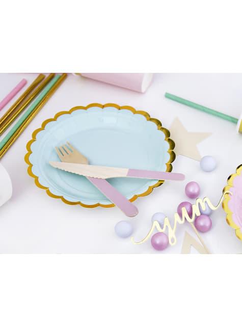 6 platos verde menta de papel (18 cm) - Yummy - para tus fiestas