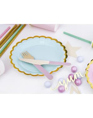 6 pratos de papel verde hortel (18 cm) - Yummy