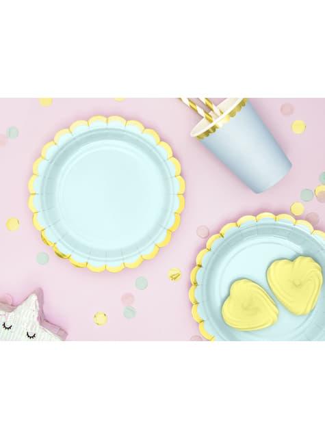 6 platos verde menta de papel (18 cm) - Yummy - para niños y adultos