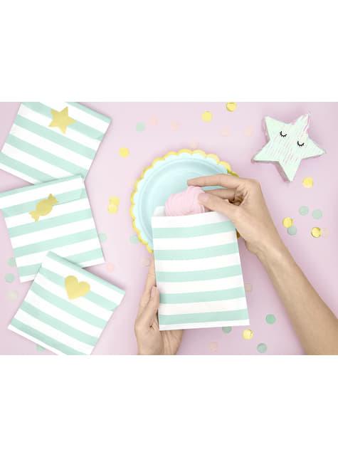 6 platos verde menta de papel (18 cm) - Yummy - para decorar todo durante tu fiesta
