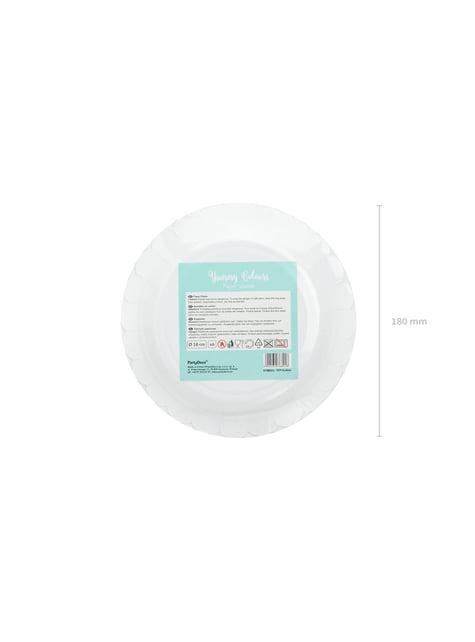 6 platos verde menta de papel (18 cm) - Yummy - decoración de fiesta