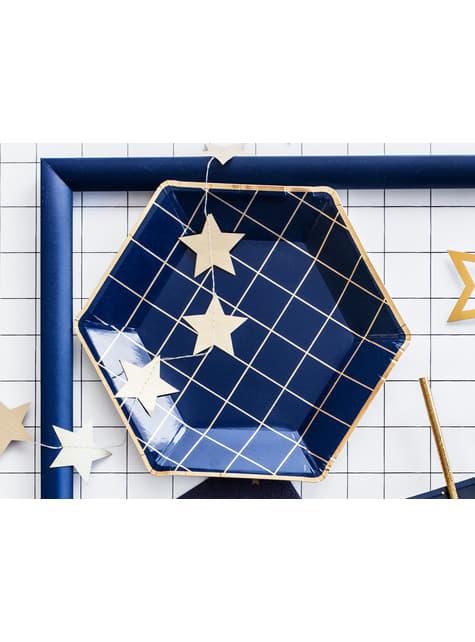 6 platos pentagonales azules marino con cuadrículas doradas de papel para nochevieja (23 cm) - Happy New Year Collection - para