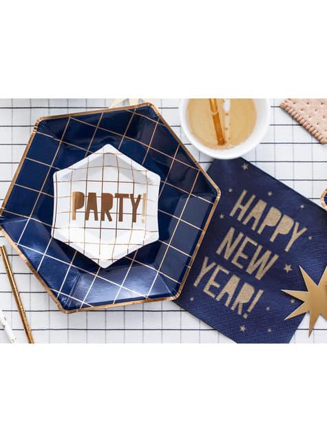 6 platos pentagonales azules marino con cuadrículas doradas de papel para nochevieja (23 cm) - Happy New Year Collection - compr