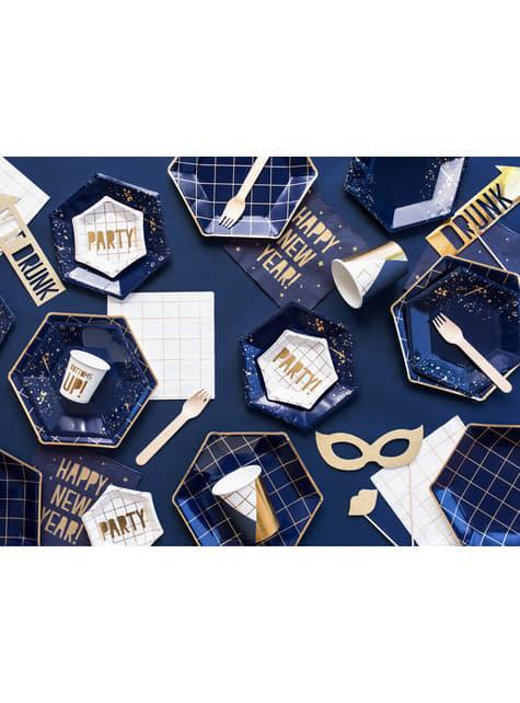 6 platos pentagonales azules marino con cuadrículas doradas de papel para nochevieja (23 cm) - Happy New Year Collection