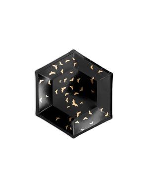 6 mustaa paperilautasta kultaisilla lepakoilla - Trick or Treat Collection