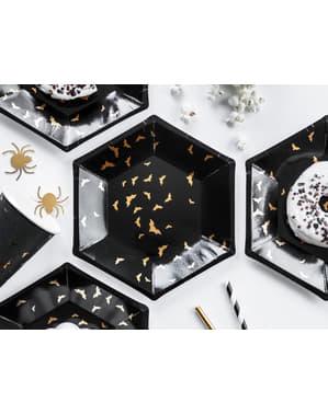 6 Sorte Papirtallerkner med Guld Flagermu (20 cm) - Trick or Treat Collection