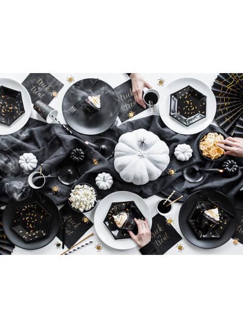 Conjunto de 6 pratos pretos com morcegos de papel dourado - Trick or Treat Collection