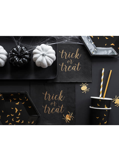 6 platos negros con murciélagos dorados de papel (20 cm) - Trick or Treat Collection - para niños y adultos