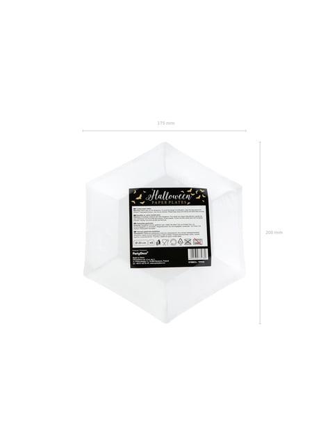6 piatti neri con pipistrelli dorati di carta (20 cm) - Trick or Treat Collection