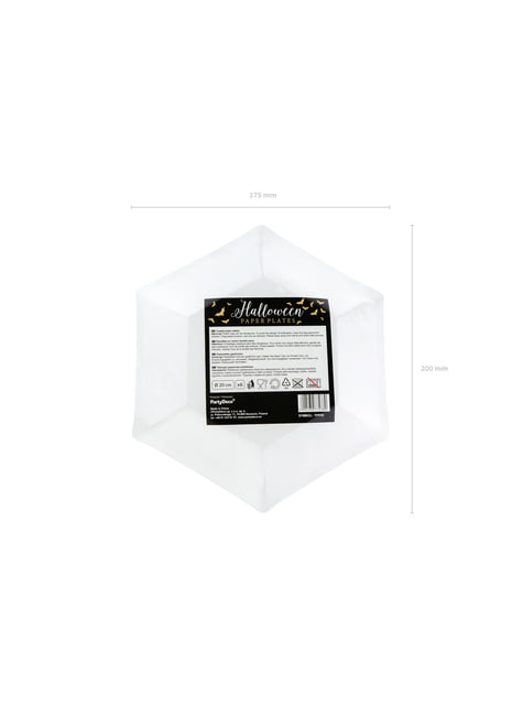 6 platos negros con murciélagos dorados de papel (20 cm) - Trick or Treat Collection - celebra cualquier ocasión