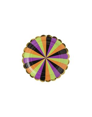 6 Papirtallerkner med Flerfarvede Stribe (18 cm) - Hocus Pocus Collection