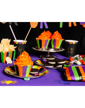 6 piatti con strisce multicolore di cart (18 cm) - Hocus Pocus Collection