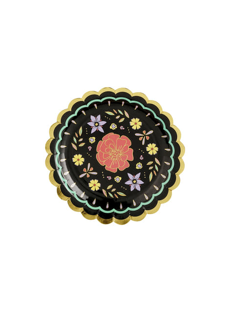 6 Pappteller schwarz mit bunten Blumen (18 cm) - Tag der Toten Collection