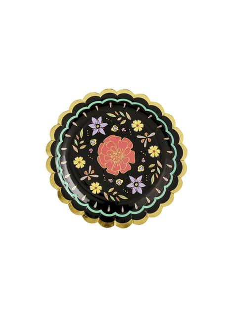 6 platos negros con flores multicolor de papel (18 cm) - Dia de Los Muertos Collection