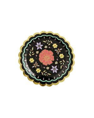Sett med 6 Svarte Papptallerkener med Flerfargete Blomster - Dia de Los Muertos Kolleksjon